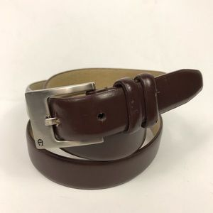 Etienne Aigner Chocolate Brown Leather Belt L